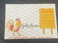 Vintage Paper Place Mat Golden Rooster Room Dick Graves Golden Nugget Sparks NV
