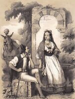 Lithographie XIXe Espagne Couple Castille et Leon Tierra de Leon Ane Mulet