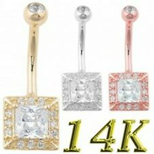 Set Clear Cz's Barbell Belly Ring Authentic 14K Solid Stamped Yellow Gold Prong