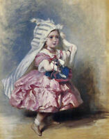 """perfect 24x36 oil painting handpainted on canvas """"a little princess  """"@N15415"""