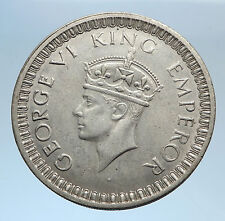 1945 INDIA STATES Indian Coin UK King George VI Antique Silver Rupee Coin i74028