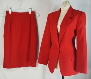 Vintage Womens Pendleton Red Wool Suit 12 Blazer Jacket And Sz 8 Skirt Petite