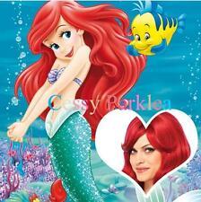 Mermaid Princess Ariel Red Long Curl Lady's Disney Costume Wigs Accessory