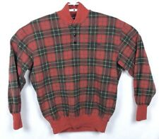 Vintage Polo Sport Ralph Lauren Mens Sz M Red Plaid 1/4 Zip Pullover Spell Out