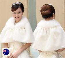 Women White Bride Bridal Wedding Party Faux Fur Warm Shawl Wrap Scarf Stole