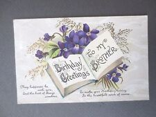 ANTIQUE Postcard BIRTHDAY GREETINGS BROTHER Violets & Book MB Series 221A 1917