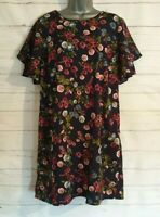 ANTHOLOGY Size 14 Summer Dress Navy BLUE/PINK/GREEN Floral Floaty VGC Women's