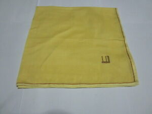 """USED YELLOW PAISLEY SOLID  PATTERN COTTON 18"""" HANDKERCHIEF POCKET SQUARE MEN"""