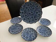 Älteres Asiatisches Porzellan Tellerset blau weiß gemarkt Blütenform Blütendekor