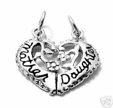 Sterling Silver Mother & Daughter Heart Charms free gift pouch