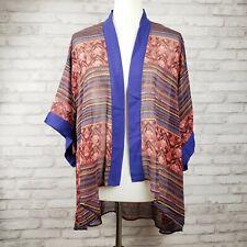 Cotton Candy L women's kimono topper blue geometric ikat sheer print hi-lo hem