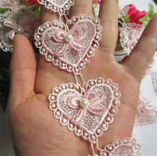 10pcs Heart Bow Pearl Lace Trim Wedding Bridal Ribbon Applique DIY Sewing Craft