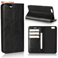 Luxury Genuine Leather Wallet Flip Case Cover For Oppo A57