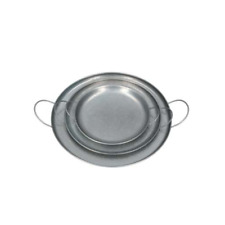 Set of 3 Galvanised Metal Round Tray w Handles by Gisela Graham