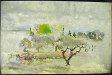 Francine Perrot Dessin original à l'aquarelle vers 1980 paysage de campagne