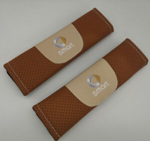 2Pcs Brown Color Car Seat Belt Shoulder Cushion Cover Pad Fit For Smart Auto