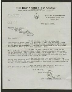 1942 - Boy Scout Letter - Regarding Bovington Army Camp Rover Crew