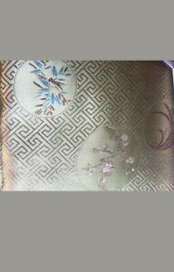 World Market Asian Gold Jacquard Embroidered silk/satin feel Queen Duvet pillows