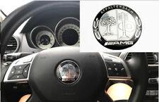 Black&Silver AMG Steering Wheel Emblem Badge Sticker Decal A B C E GLC GLK CLK