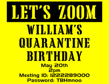 QUARANTINE ZOOM INVITATIONS BIRTHDAY PARTY INVITES BY JPEG or PDF CUSTOM