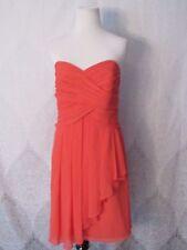Davids Bridal Orange Short Crinkle Chiffon Style F14847 Party Homecoming Sz 14