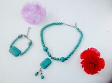 Womens Turquoise Gemstone Necklace Pendants & Bracelet Jewelry sets Jordan New