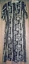 Vintage 1990s Summer Casual Smart Black White Floral Print Ladies Dress,Size 16
