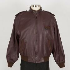 Men's Leather Jacket Cafe Racer Size 46 XL Burgundy MEMBERS ONLY