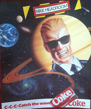 "AD POSTER~Max Headroom Coca Cola Coke Classic 1980's 17x14"" McKelvey Original~"
