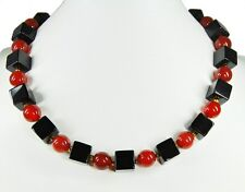 Beautiful Necklace in Gemstones Onyx in Cube Shape and Carnelian in Ball Shape
