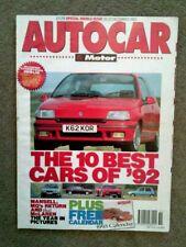 AUTOCAR MAGAZINE 16/23-DEC-92 - Peugeot 405 T16, Mazda RX-7, BMW E1, Rover 416