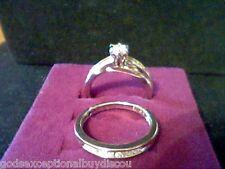 WOMENS GENUINE DIAMOND WEDDING ENGAGEMENT 2 PC BAND SET SZ 7  +GIFT!