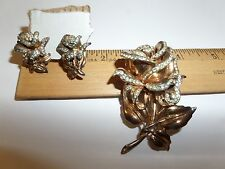 VINTAGE STERLING SILVER CORO-CRAFT BROOCH PIN & STERLING EARRINGS