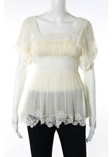 CATHERINE MALANDRINO Ivory Silk Gathered Waist Crochet Detail Blouse Top Sz S