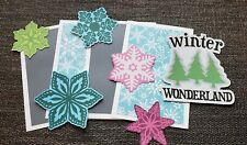 Winter snow  scrapbook page set photo mats and printed die cuts set #572