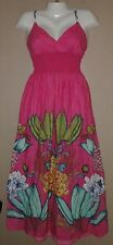 WOMENS MAURICES PINK FLORAL SMOCKED ELASTIC WAIST MAXI DRESS SIZE XS FLOWERS