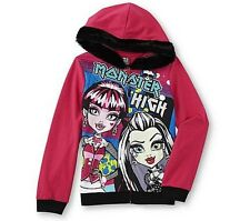 MONSTER High Pink Glittery JACKET NeW Girls 14/16 Faux Fur-Line Hooded HOODIE