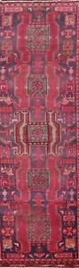 Antique Geometric Oriental Traditional Runner Rug Hand-knotted Wool Carpet 3x11