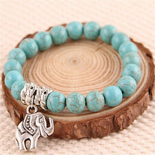 Women's Natural Blue Turquoise Stone Silver Elephant Beaded Charm Bracelet 8mm