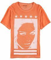 Guess Orange White Mens Size Large L Graphic Print Crewneck Tee T-Shirt $39 170
