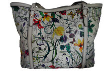 GUCCI tote handbag FLORAL PAINTED cream white leather BRAND NEW!