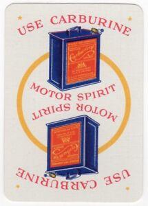 Playing Cards 1 Single Card Old Wide CARBURINE MOTOR SPIRIT Petrol Advertising 1