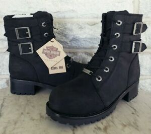 Harley Davidson Womens Archer Steel Toe Work Boots Size 8 Black D84464 Side Zip