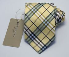 """NEW Burberry YELLOW PLAIDS Mans 100% Silk Tie Authentic Italy Made 3.5"""" 0350224"""