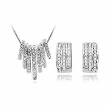 18K White Gold Filled Crystal Rhinestone Chunky Pendant Necklace Earrings Set