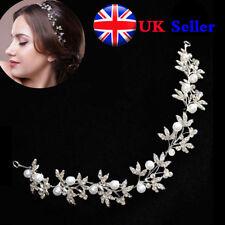 Silver Pearl Crystal Bridal Hair Vine Bendable Wedding Headband Hair Accessories