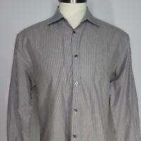 John Varvatos Slim Fit Button Front Gray White Pinstripe Shirt 16 1/2 Italy