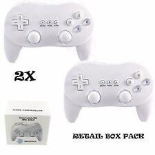 2x BOXED WHITE CLASSIC CONTROLLER PRO JOYPAD GAMEPAD FOR NINTENDO WII U CONSOLE