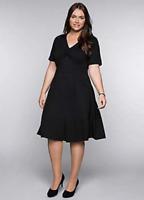 Black Fit and Flare Full Skirt Dress with Ruched V Neck Bustline size 26