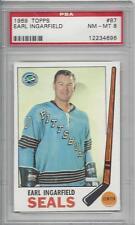 1969 Topps hockey card #87 Earl Ingarfield, Oakland Seals PSA 8 NMMT